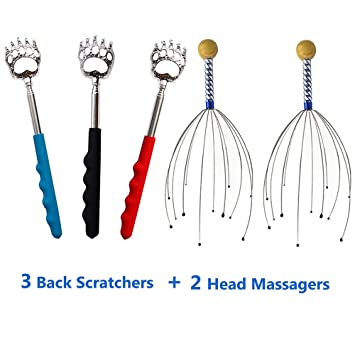 telescopic back scratchers & hand held scalp head massagers kit by lethum  (3 pieces of