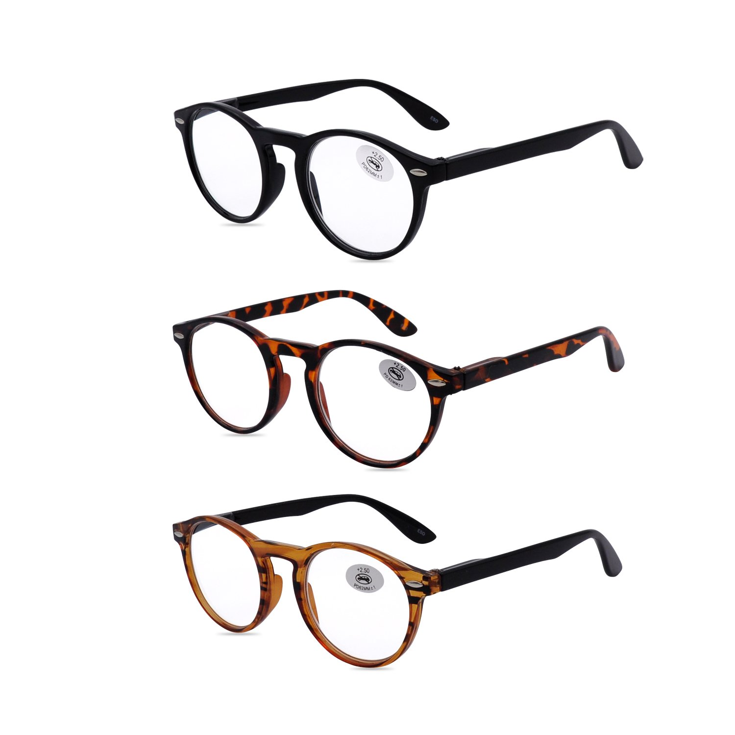 Amillet Reading Glasses 3 Pack for Men and Women,Retro Round Spring Hinges Frame Readers,3 Colors with Gift Packing,Glasses for Reading +2.00
