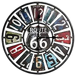 Taylor Precision Products Route 66 License Plate Design Metal Clock (22-Inch, Multi Color)