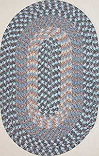 """product image for Constitution Rugs Hometown 5' 6"""" x 8' 6"""" (66"""" x 102"""") Oval Braided Rug in China Blue"""