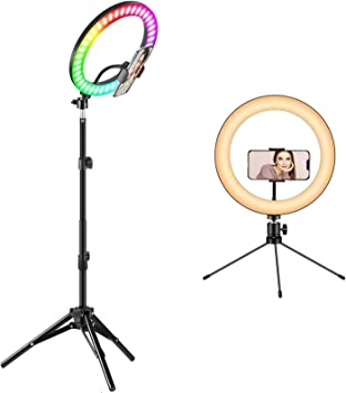 """HAUEA Selfie Ring Light with Tripod Stand 10/""""LED Ring Light with 25 RGB Modes Dimmable Led Camera Ring Light with Two Remote Control /& Phone Holder Circle Light for Live Stream//Makeup//YouTube Video"""