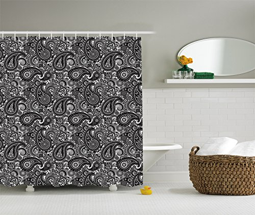 Paisley Shower Curtain Extra Long Decor by Ambesonne, Geometric and Floral Design Asian Style Pattern, 84 Inches Extra Long, Black and White (Curtains Black Paisley)