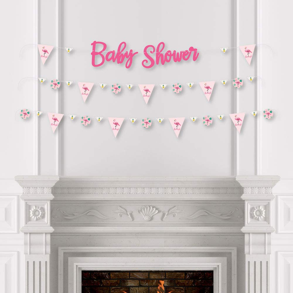 Baby Shower Letter Banner Decoration Big Dot of Happiness Pink Flamingo Party Like a Pineapple 36 Banner Cutouts and Baby Shower Banner Letters