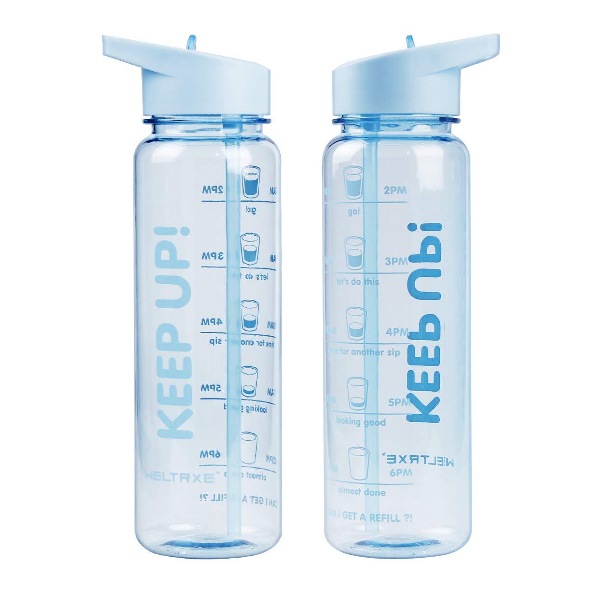 30oz Motivational Sport Water Bottle w// Time Marking Flip Straw No Leak BPA Free