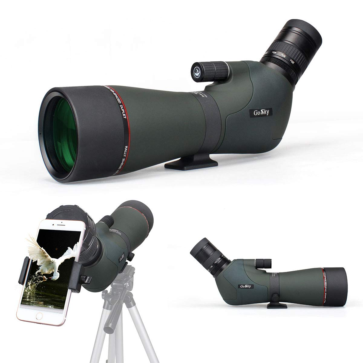Gosky Newest 20-60x80 Dual Focusing Spotting Scope - Waterproof HD Optics Zoom Scope with with Carrying Case and Smartphone Adapter for Hunting Bird Watching Target Shooting Astronomy Scenery by Gosky