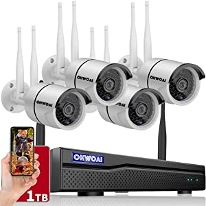 ?8CH Expandable? Security Camera System Wireless, 8 Channel 5MP NVR with 1TB Hard Drive, 4Pcs 5MP CCTV Cameras for Home,OHWOAI Surveillance Video Security System,Outdoor IP Cameras with Audio