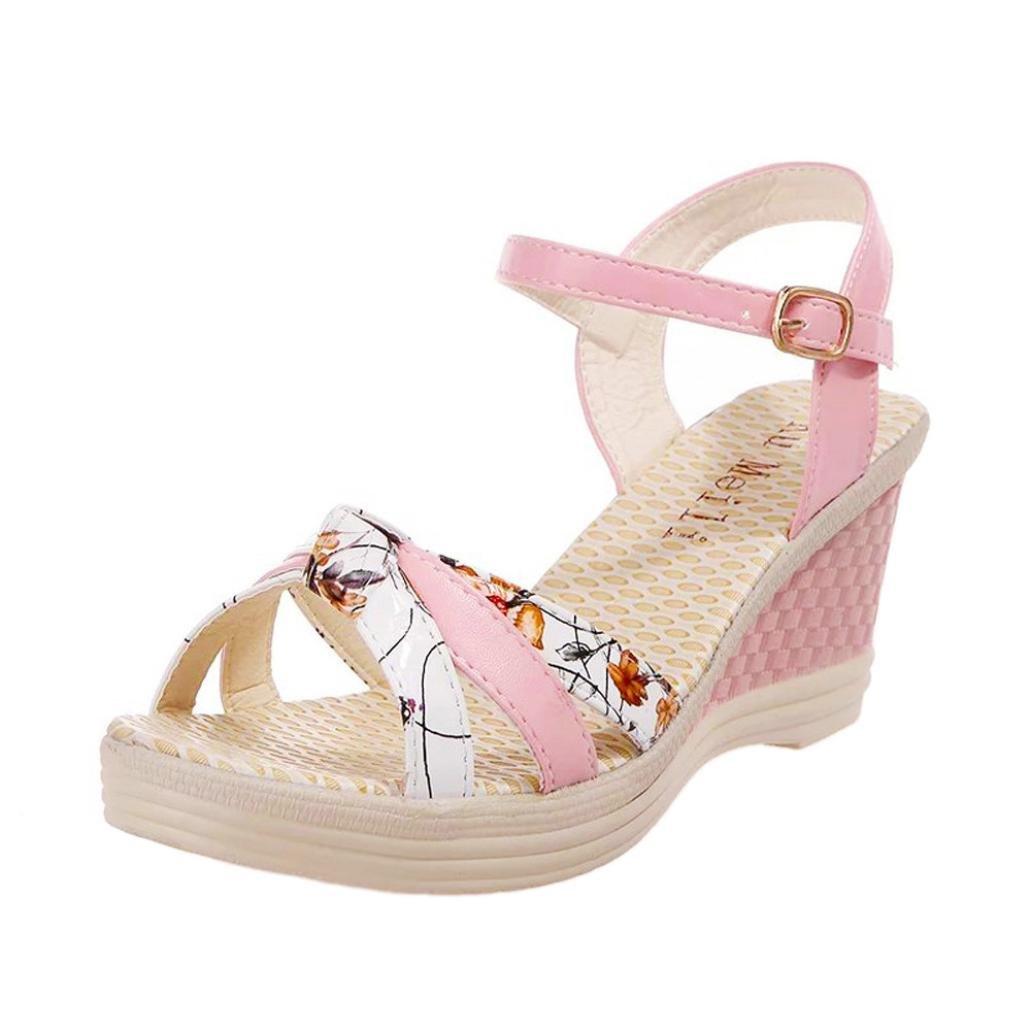 OcEaN 2018 Ladies Women Bohemian Wedges Fish Mouth Waterproof Platform Shoes Summer Sandals Toe High-Heeled Shoes B079BJBF16 7 B(M) US|Pink