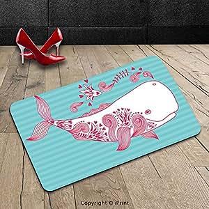 Custom lavable Felpudo (ballena por Cute Big Fish Swimming y flores marino Animales Mamíferos criatura temáticas de diseño azul rosa blanco para interiores/al aire libre Felpudo alfombra alfombra alfombra