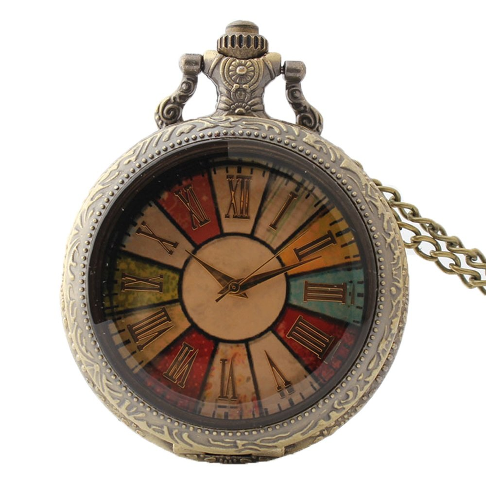 Creative Colorful Dial Vintage Quartz Pocket Watch With Chain For Women Men Students by Shirleyle (Image #1)