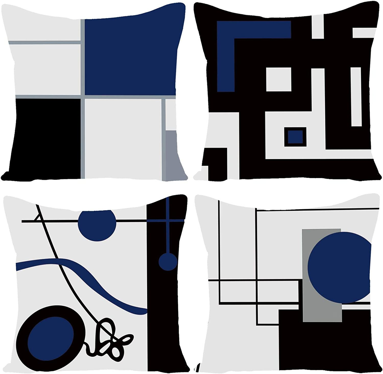 WILPROO Black Dark Blue Geometric Decorative Cushion Pillow Covers Set of 4 18