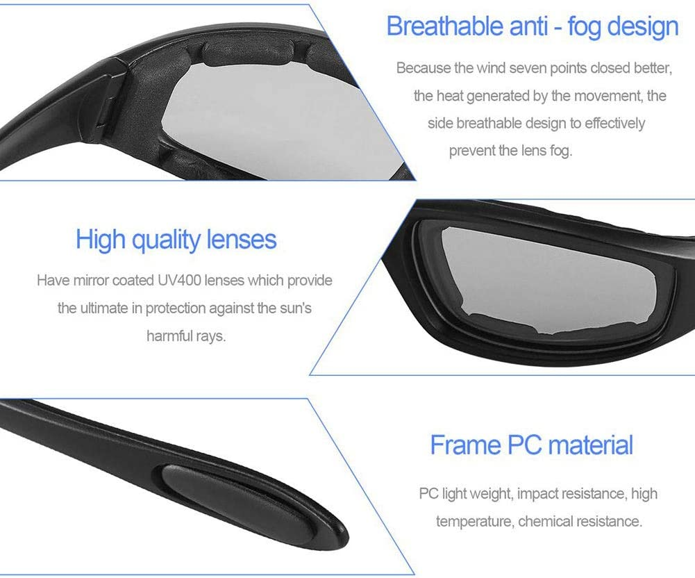 Motorcycle Sunglasses Windproof Polarized Motorcycle Lens Sunglasses Riding Cycling Biker Sport Wrap for Bicycle Moto Hiking Outdoor Sport