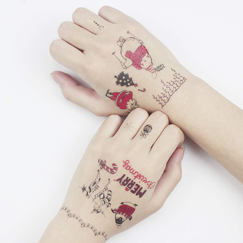 Tatuaje de Navidad Luminoso Tatuajes Temporales para Niños Santa ...
