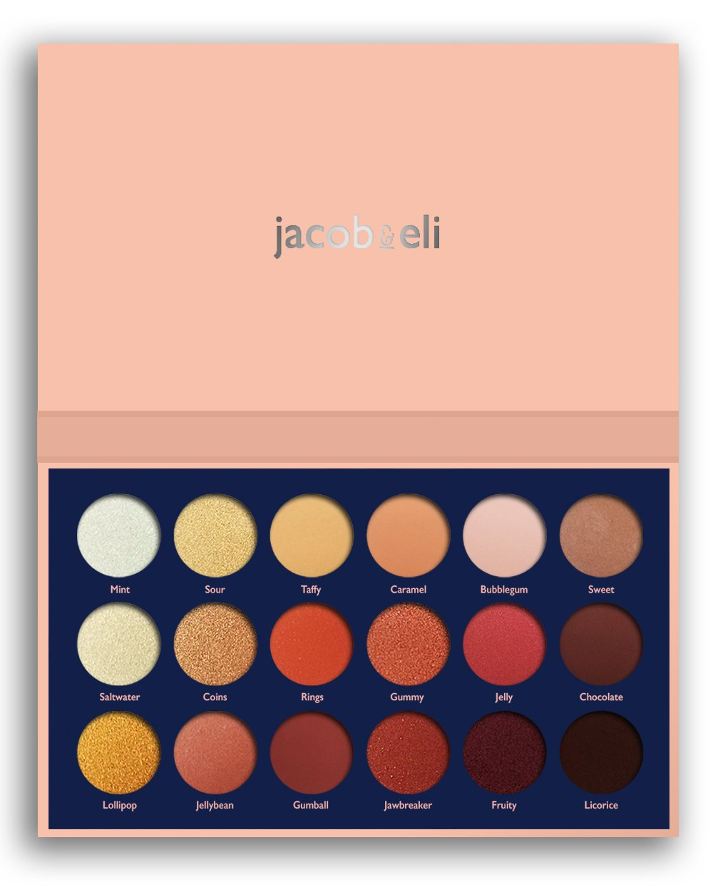 18 Super Pigmented - Top Influencer Professional Eyeshadow Palette all finishes, 5 Matte + 9 Shimmer + 4 Duochrome - Buttery Soft, Creamy Texture, Blendable, (Candy Peaches) Jacob and Eli