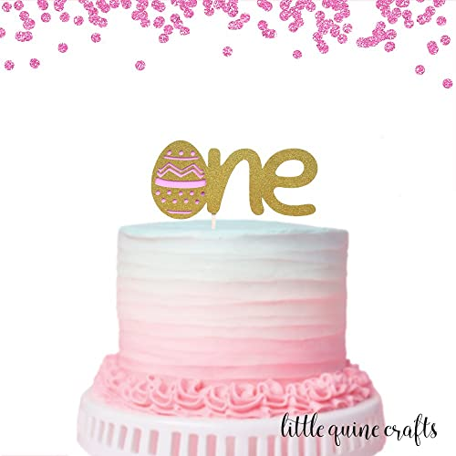 Amazon Com 1 Pc One Easter Egg Gold Glitter Cake Topper For First