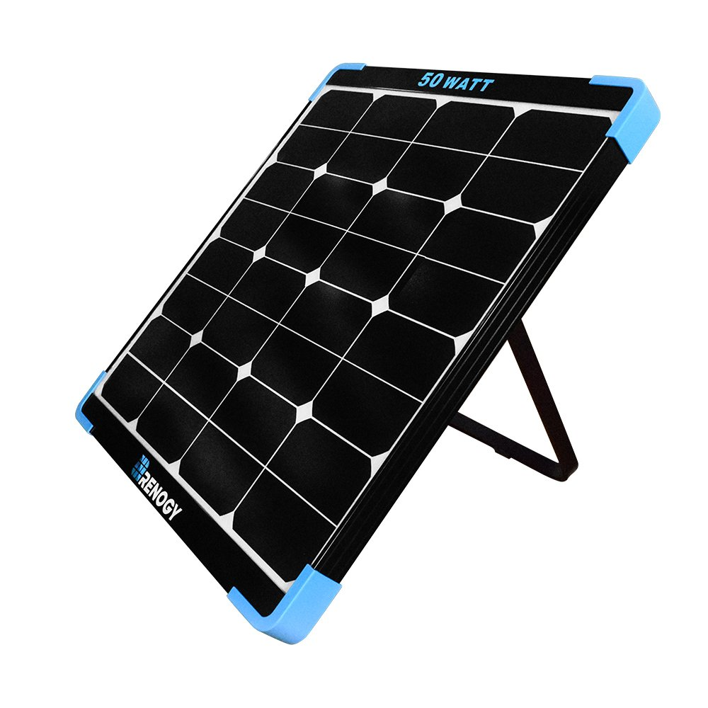 Renogy 50 Watt 12 Volt Eclipse Monocrystalline Off Grid Portable Foldable Solar Panel Suitcase Built-in Kickstand