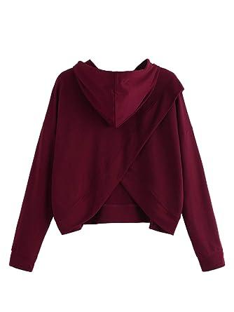 c833823cc8 SheIn Women's Plain Long Sleeve Top Drawstring Pullover Shirt Hoodie  Sweatshirts at Amazon Women's Clothing store: