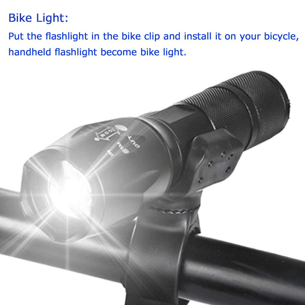Include Rechargeable Batteries and Chargers Walking X.Store 2 Set LED Flashlight 2500 Lumens 5 Modes Black Mini Torch Waterproof Adjust Focus Light for Camping Bike Clips Hiking