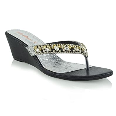 ede0e6e008ae8b Womens Low Wedge Heel Toe Post Diamante Sandals Ladies Sparkly Flip Flops  3-8 Black