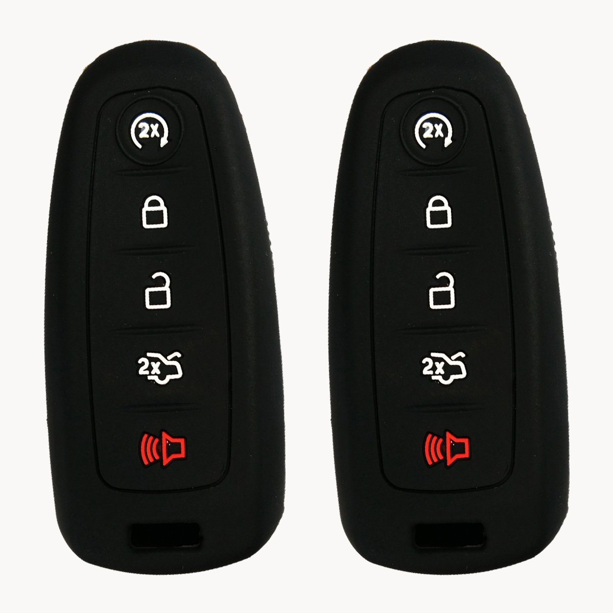 2Pcs Coolbestda Silicone Key Fob Remote Cover Case Skin Jacket Holder for Lincoln Ford Escape Explorer Focus Taurus Black 5 Buttons