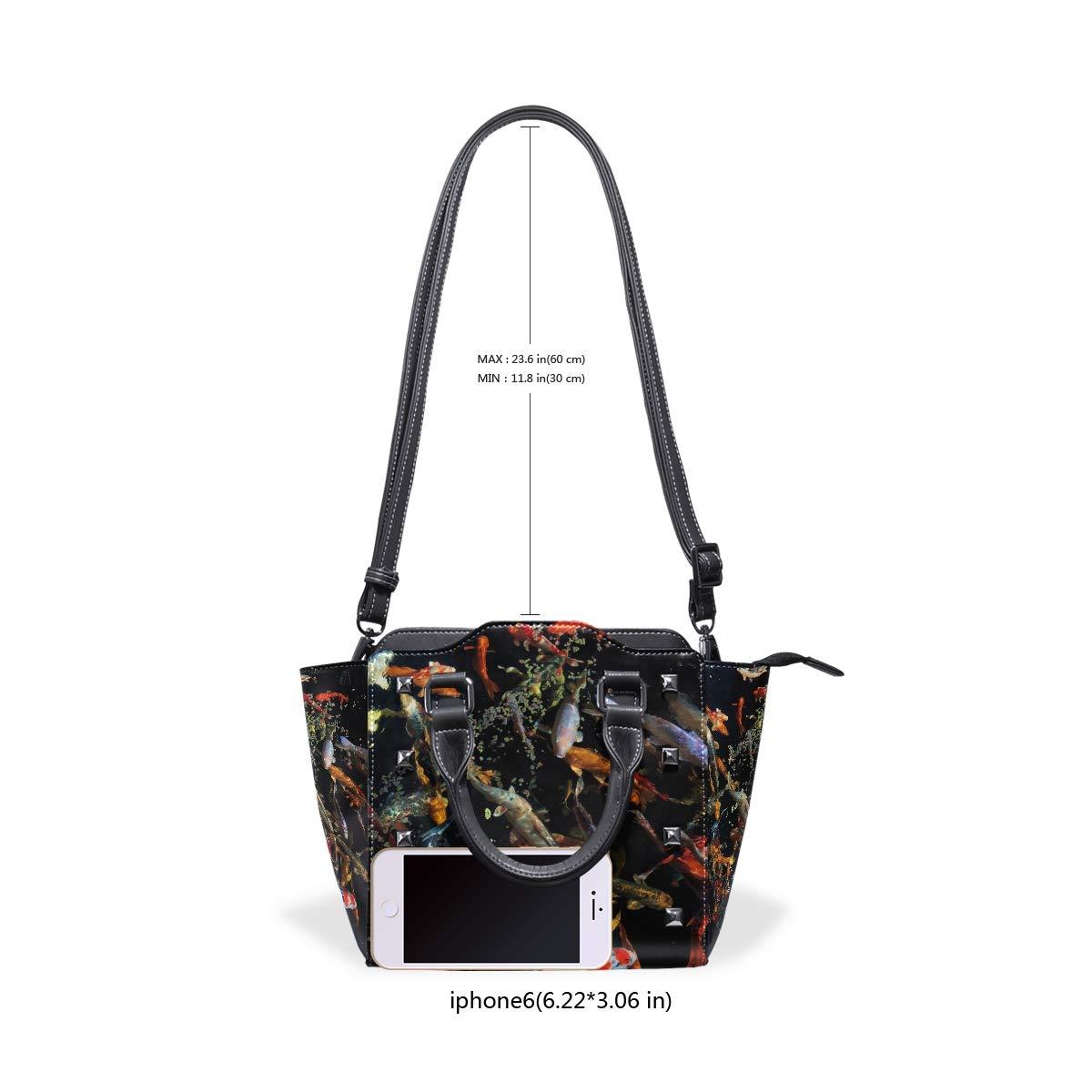 Japanese Koi Fish Genuine Leather Handbags Purses Shoulder Tote Satchel Bags Womens