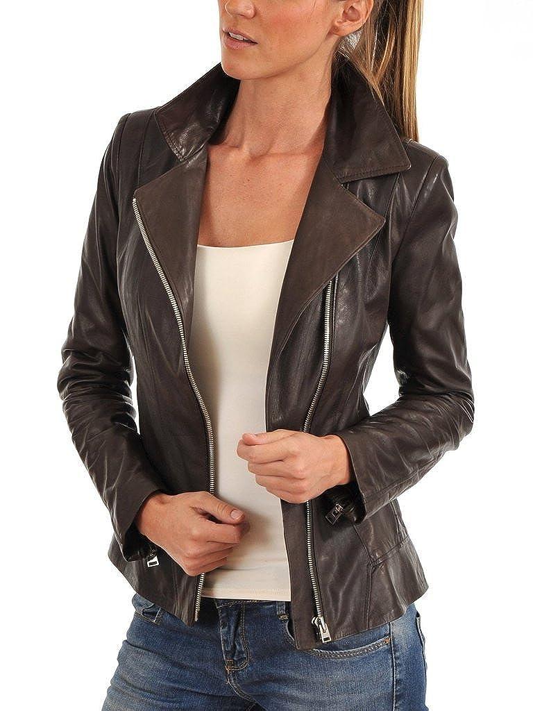 Womens Slim Genuine Lambskin Leather Designer Coat Biker Jacket LTW355