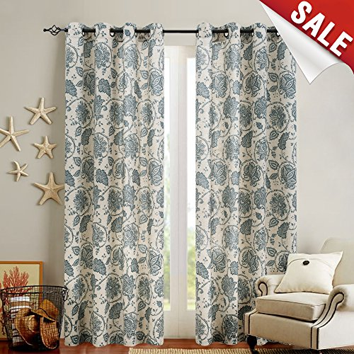Flax Color (Floral Scroll Printed Linen Curtains, Grommet Top - Ikat Flax Textured Medallion Design Retro Living Room Window Covering (Teal, 63 inch Long, Set of Two))