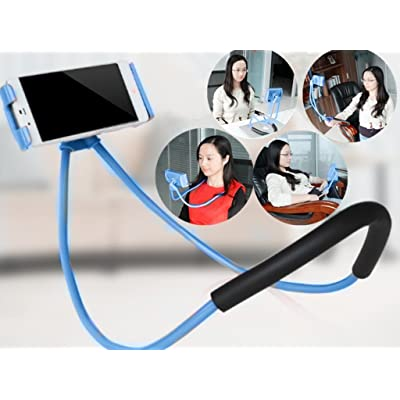 LuoMing Lazy Hang Neck Phone Support, 360 Degree Rotation Flexible Multi-Function Creative Mobile Phone Holder Desktop Bed Car Lazy Bracket Mobile Stand Support All Mobiles (Blue)