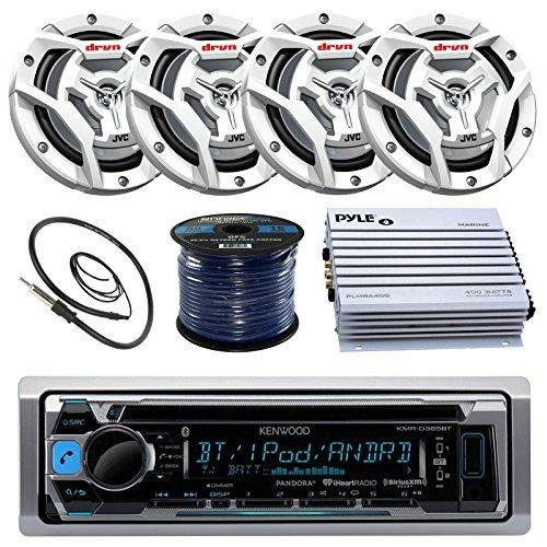 Millenia PRV17 Gauge Style Marine Boat Yacht Radio Stereo Receiver Bundle Combo with 4X JVC CS-DR6201MW 300-Watt 6.5 2-Way Coaxial Speakers 50 Foot 16g Speaker Wire Enrock Radio Antenna