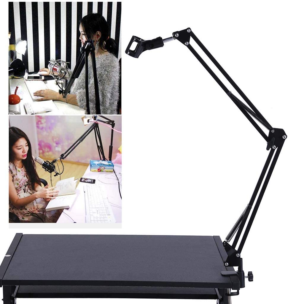 Haly Universal Microphone Stand Bracket Professional Desktop Microphone Stand Adjustable Metal Stand Live