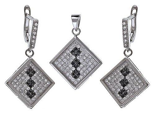 cfe9727428a3 925 plata esterlina cuadrado blanco y negro de cristal de Swarovski aretes  y collar conjunto  Stylish Jewellery  Amazon.es  Joyería