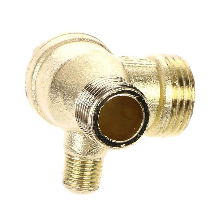 ZChun - Compresor de aire metálico (3 vías, con rosca exterior), color dorado: Amazon.es: Bricolaje y herramientas
