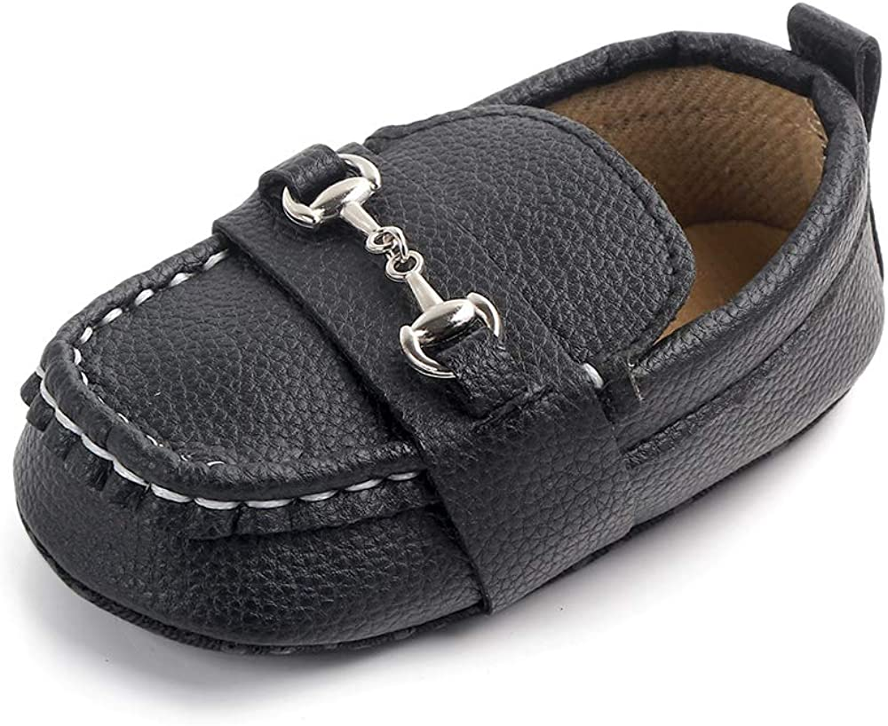 XYLUIGI Baby Loafers Infant Toddler Boys Girls Prewalker Moccasins Crib Dress Shoes Nubuck PU Leather Sneakers, Black 12-18 Months