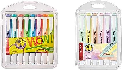 Marcador fluorescente STABILO swing cool Estuche con 8 colores + Marcador pastel STABILO swing cool Estuche con 6 colores: Amazon.es: Oficina y papelería