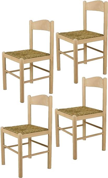 Tommychairs Set 4 sedie Pisa 50 per Cucina, Bar e Sala da Pranzo, Robusta Struttura in Legno di faggio Levigato, Non trattato, 100% Naturale e