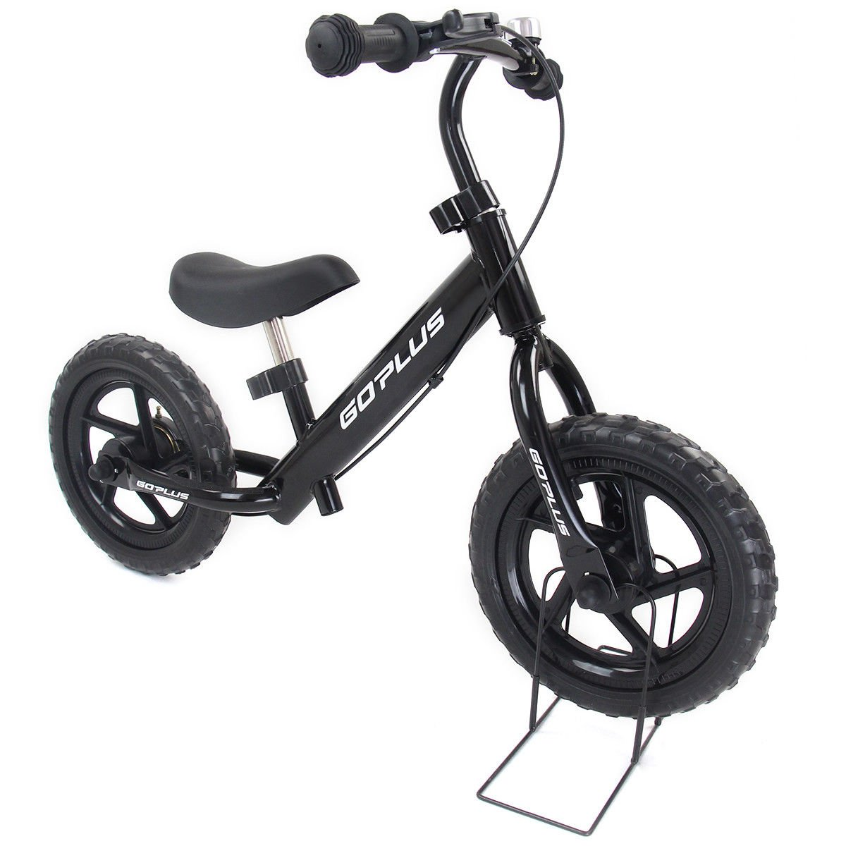 Goplus 12'' Kids Balance Bike No-Pedal Learn To Ride Pre Bike Push Walking Bicycle Adjustable Height with Bell Ring and Stand (Black)
