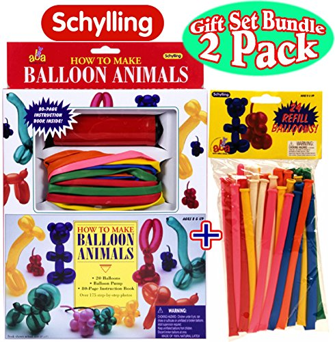 Schylling How To Make Balloon Animals Kit & Refills Gift Set Bundle - 2 Pack -