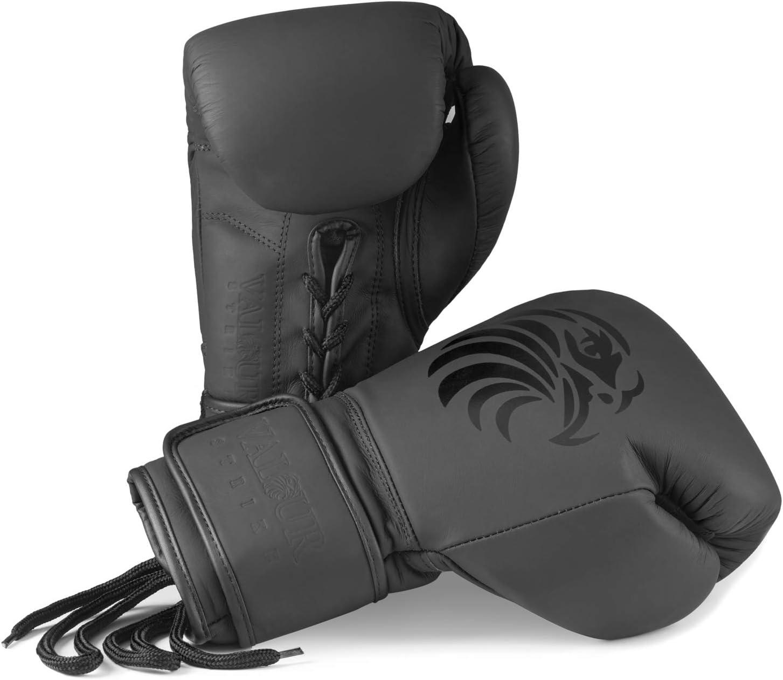 Boxen Kickboxen Faustschlag Valour Strike Pro Boxhandschuhe Premium Leder MMA Muay Thai F/ür Sparring Kampfsport All Blacks Kampfsport
