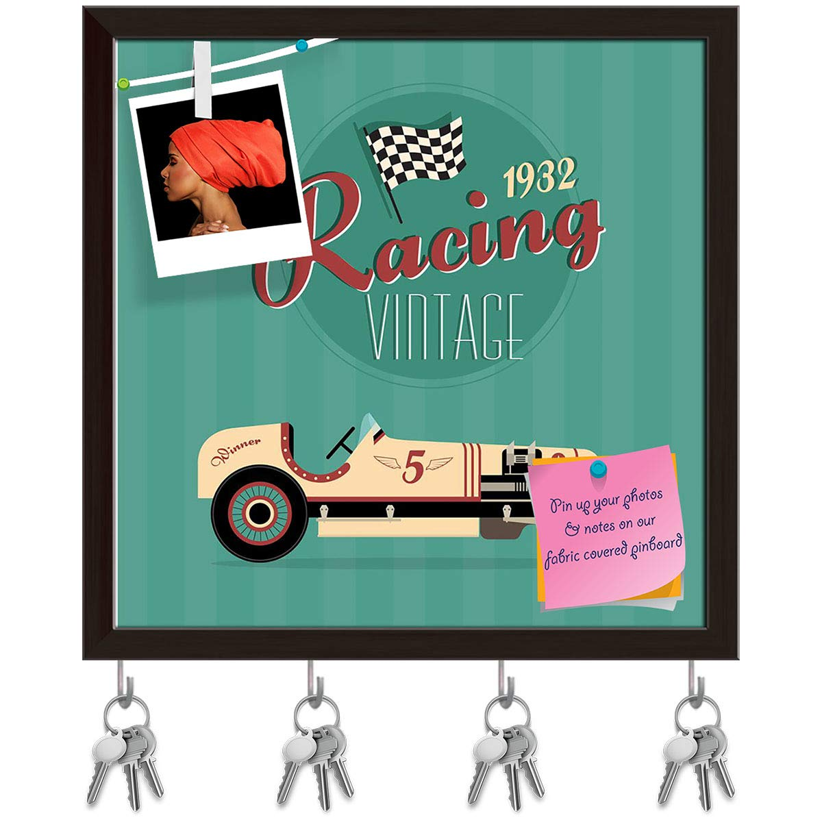 Dark Brown Frame 16.1inch x 16inch (40.9cms x 40.6cms) Artzfolio Vintage Car D14 Key Holder Hooks   Notice Pin Board   White Frame 16.1 X 16Inch