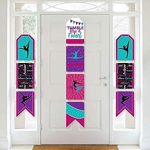 Big Dot of Happiness Tumble, Flip and Twirl - Gymnastics - Hanging Vertical Paper Door Banners - Birthday Party or Gymnast Party Wall Decoration Kit - Indoor Door Decor