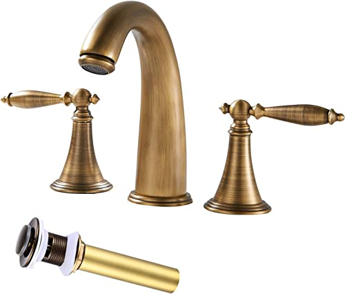 8in Bathroom Sink Faucet Antique Brass Widespread 3 Holes Double Handles Lavatory Deck Mounted Basin Mixer Tap Include Pop Up Drain with Overflow