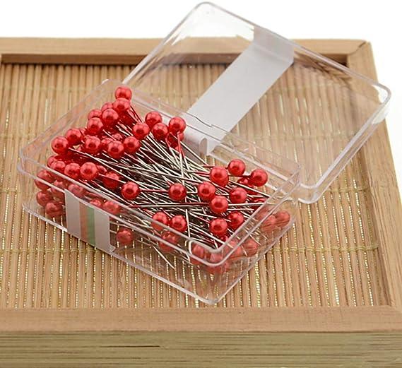 La Tartelette 800pcs Round Pearl Head Dressmaking Pins Weddings Corsage Florists Sewing Pin 3.5 cm, Rose Red