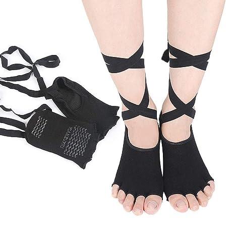 Loneflash - Calcetines de Yoga para Mujer, sin Dedos, con ...