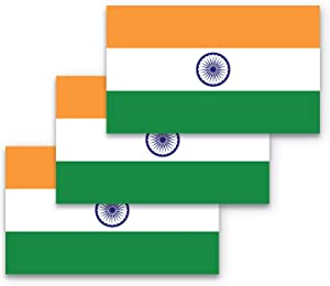 3x5 India Flag Sticker 3-Pack Made with Durable Waterproof Materials Indian Flag Bumper Sticker Flag of India Bumper Sticker