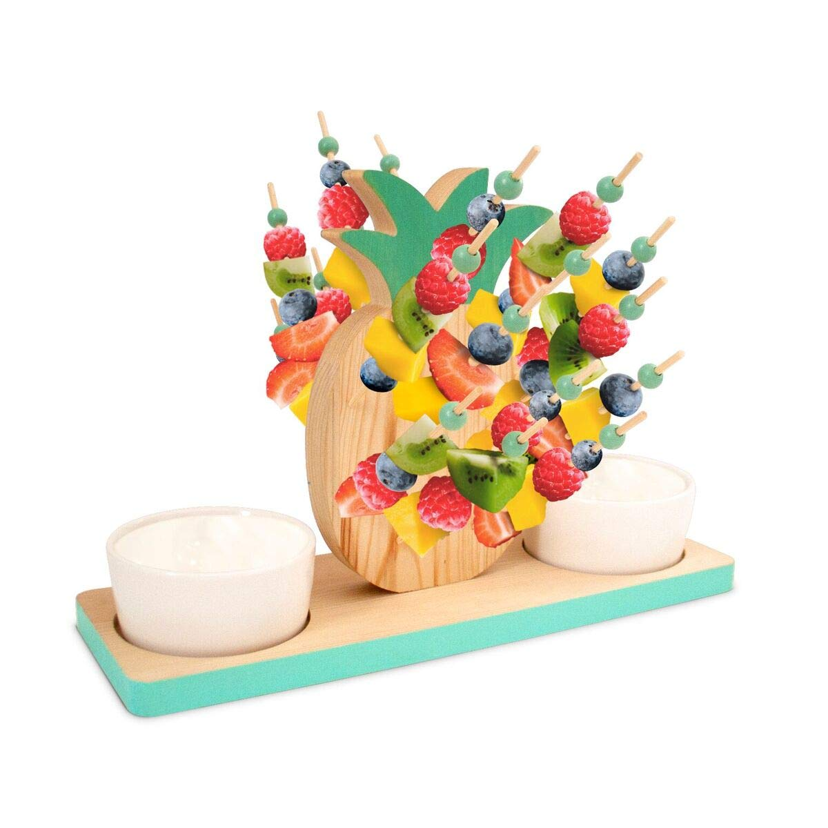 23 Bees | Pineapple Party Fruit Skewers | Wood Pineapples Theme Decorations | Includes Appetizer Picks & Cocktail Bowl Set | For Weddings, Catering, Parties, Birthdays (2 Bowls, 25 Pick Set)