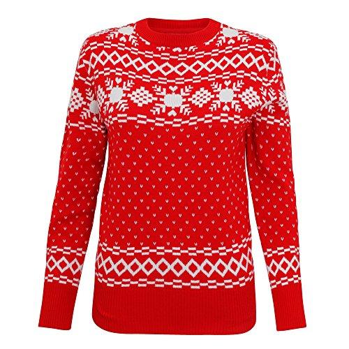 Christmas Shop - Jersey de punto estilo vintage para mujer Rojo