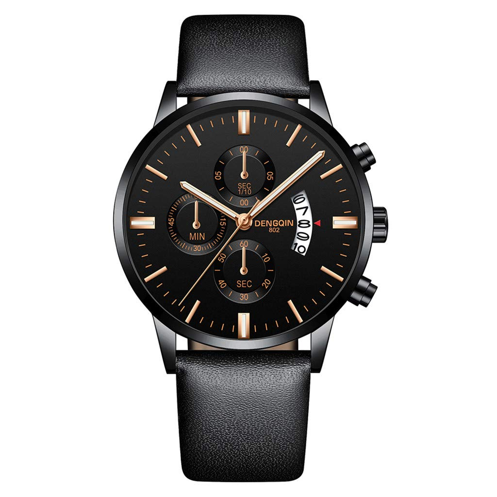 Staron  Luxury Men's Quartz Sport Military Stainless Steel Dial Wrist Watch - Top Leather Watch Band - 43mm Chronograph Date Watch - Battery Quartz Movement (B)
