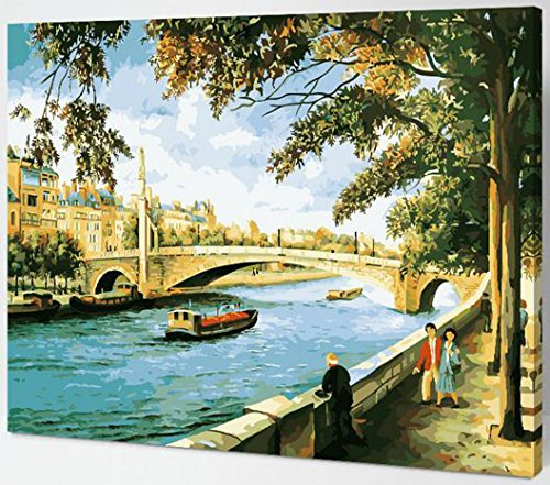 Price comparison product image MailingArt Wooden Framed Paint By Number No Mixing / No Blending Linen Canvas DIY Painting - Little Bridge