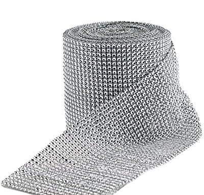HUJI Diamond Silver Rhinestone Mesh Ribbon Wrap for Wedding Decorations, Gifts, Party Supplies, Cake Decorations