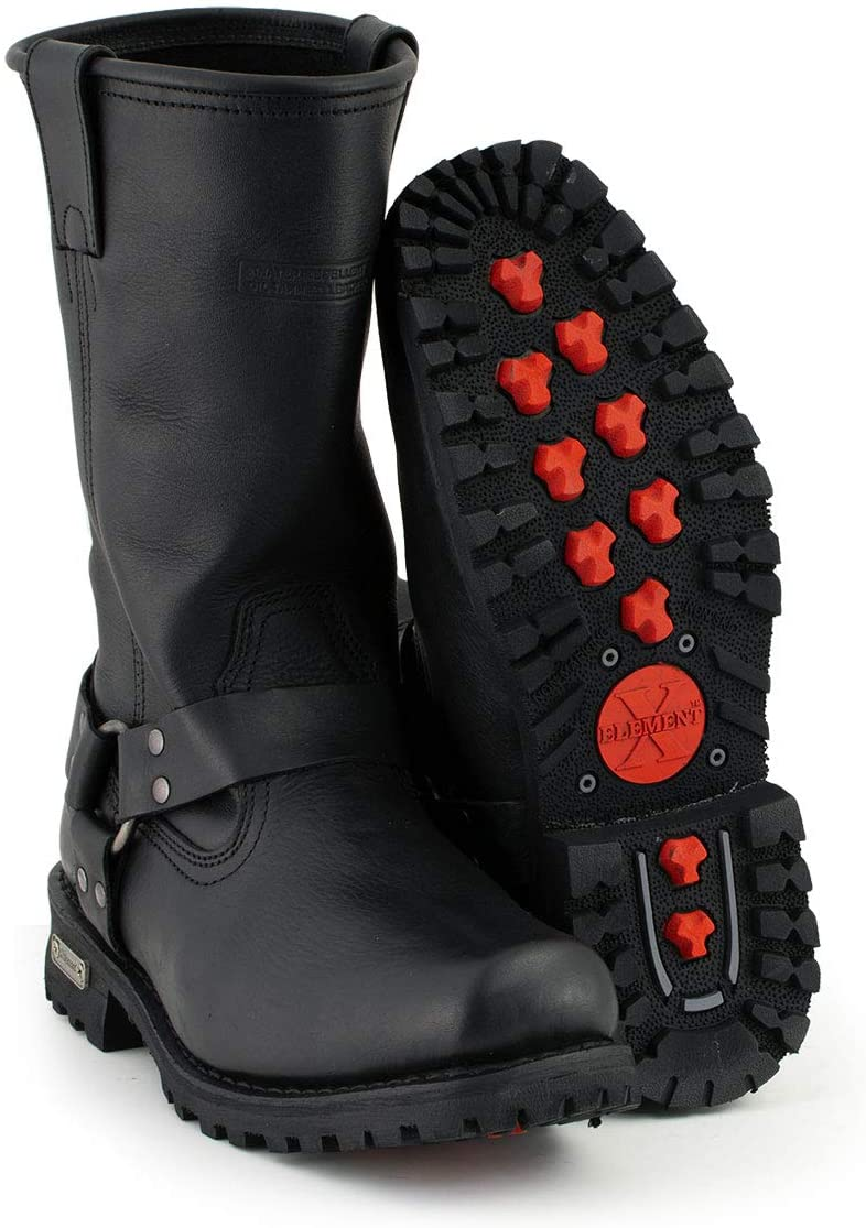 Xelement 1443 Men's Black Harness Motorcycle Biker Boots with Lug Sole - 9.5: Automotive