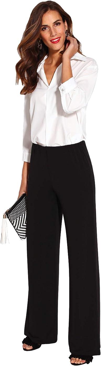 Venca Pantalon Liso Palazzo De Corte Recto Mujer By Vencastyle 024389 Negro Xs Amazon Es Ropa Y Accesorios
